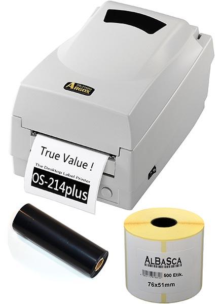 Reifenetiketten-Set Etikettendrucker ARGOX OS-214plus + Etiketten + Druckband Bild 0
