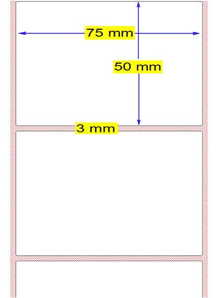 Thermo-Etiketten weiss selbstklebend 75*50mm 800 Etik. Rolle Bild 1